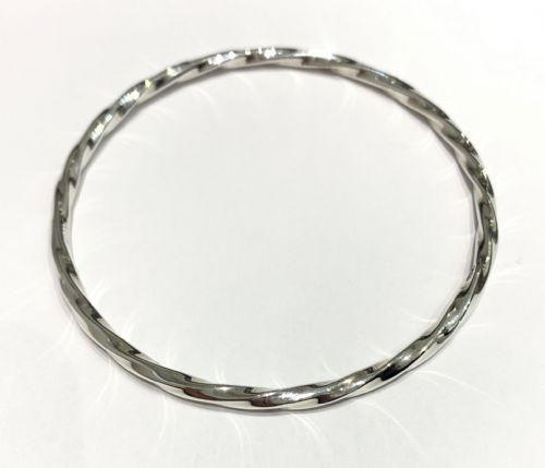 Solid Rounded Twisted Sterling Silver Polished Slave Bangle